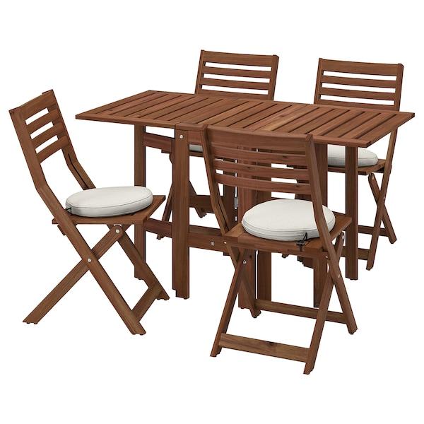 ÄPPLARÖ Bord og 4 klapstole, udendørs, brun bejdse/Frösön/Duvholmen beige