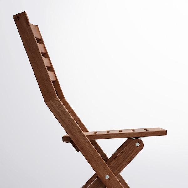 ÄPPLARÖ stol, ude kan klappes sammen brun bejdse 110 kg 42 cm 56 cm 86 cm 38 cm 37 cm 44 cm