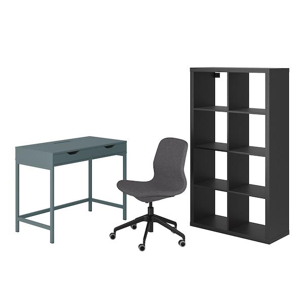 ALEX/LÅNGFJÄLL / KALLAX Skrivebords- og opbevaringskombina, og drejestol turkisgrå/sort