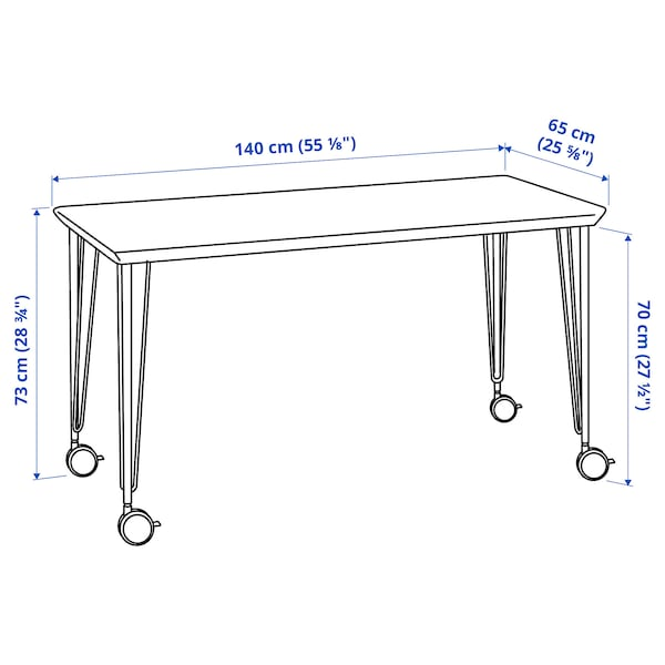ANFALLARE/LÅNGFJÄLL / BILLY/OXBERG Skrivebords- og opbevaringskombina, og drejestol bambus/beige hvid