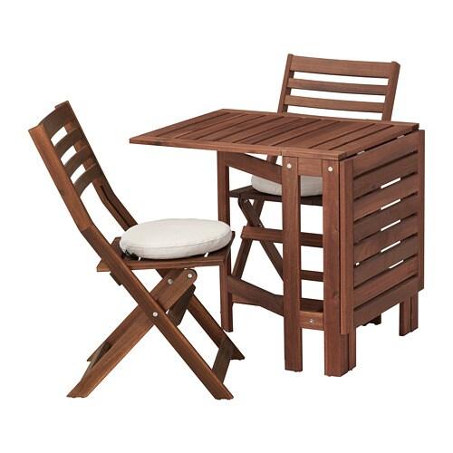 ÄPPLARÖ Bord+2 klapstole, ude - Äpplarö brun bejdse/Frösön/Duvholmen beige - IKEA