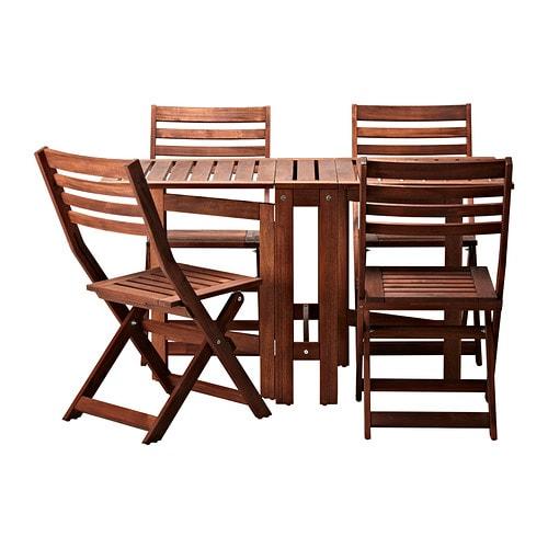 ÄPPLARÖ Bord og 4 klapstole, udendørs - Äpplarö brun bejdse - IKEA