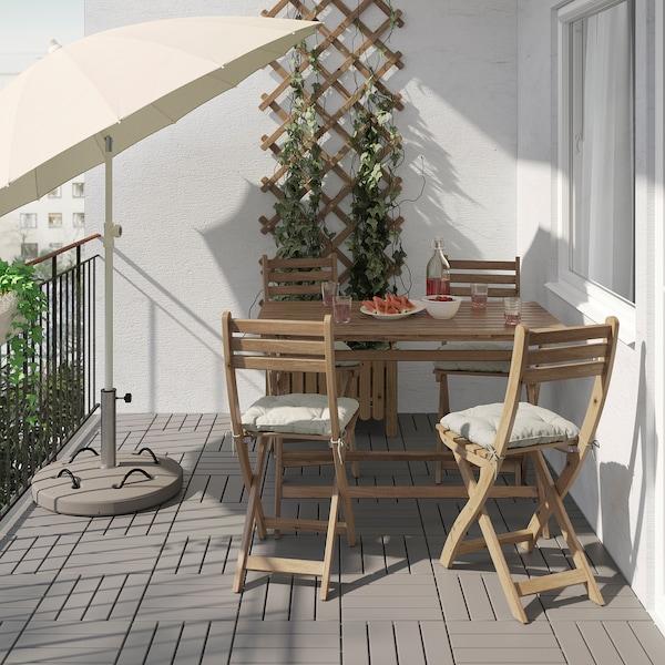 ASKHOLMEN Bord+4 stole, ude, lysebrun med bejdse