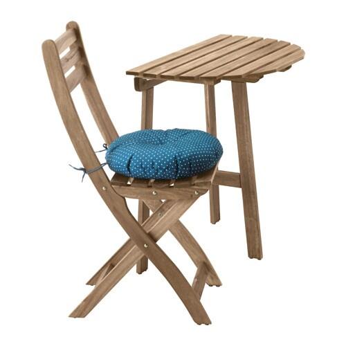 ASKHOLMEN Bord til væg+1 klapstol, udendørs - Askholmen gråbrun ...