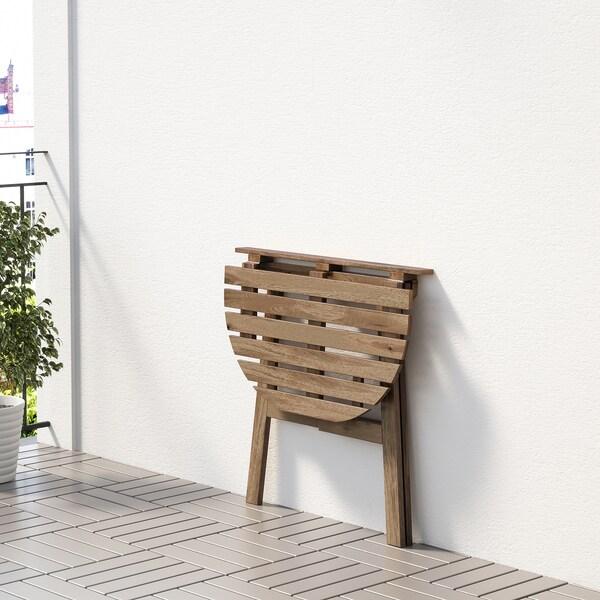 ASKHOLMEN bord til væg, ude Kan klappes sammen lysebrun med bejdse 70 cm 44 cm 71 cm
