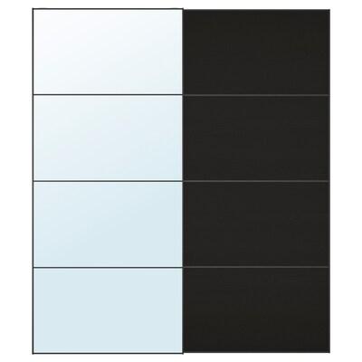 AULI / MEHAMN Skydedørspar, spejl/asketræsmønster med sortbrun bejdse, 200x236 cm