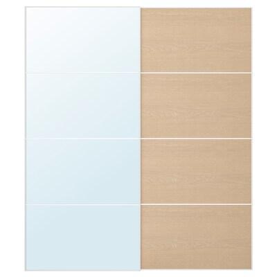 AULI / MEHAMN Skydedørspar, spejl/egetræsmønster med hvid bejdse, 200x236 cm