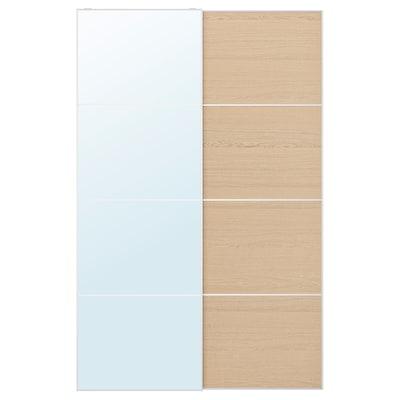AULI / MEHAMN Skydedørspar, spejl/egetræsmønster med hvid bejdse, 150x236 cm