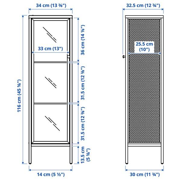 BAGGEBO Skab med vitrinelåger, metal/hvid, 34x30x116 cm