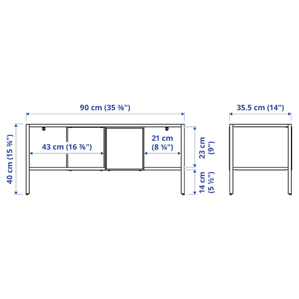 BAGGEBO Tv-bord, metal/hvid, 90x35x40 cm