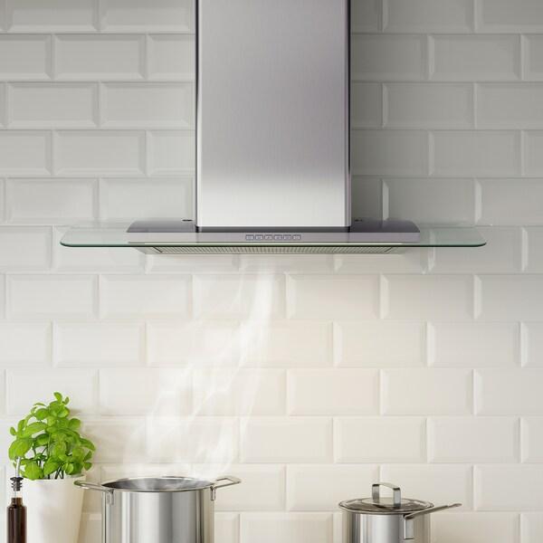 BALANSERAD Vægmonteret emhætte, rustfrit stål/glas