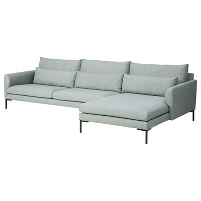 BARKTORP 4-pers. sofa, med chaiselong lys turkis/firkantet sort