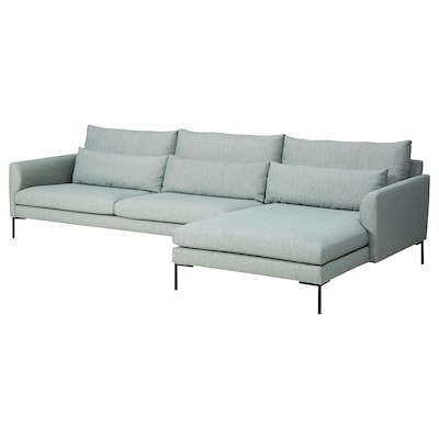BARKTORP 4-pers. sofa, med chaiselong lys turkis/rundt sort