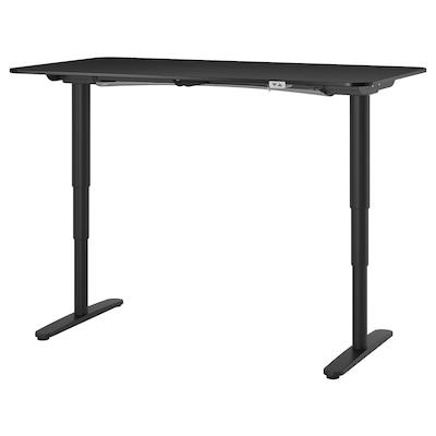BEKANT Skrivebord hæve/sænke, asketræsfiner med sort bejdse/sort, 160x80 cm