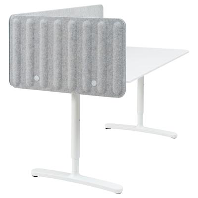 BEKANT Skrivebord med skærm, hvid/grå, 160x80 48 cm