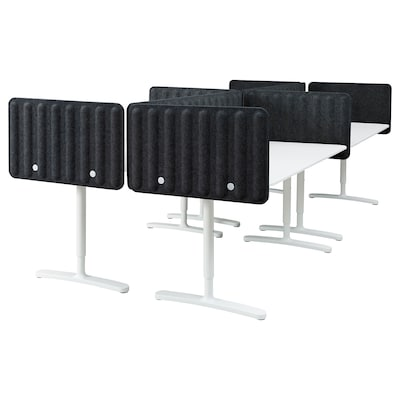 BEKANT Skrivebord med skærm, hvid/mørkegrå, 320x160 48 cm