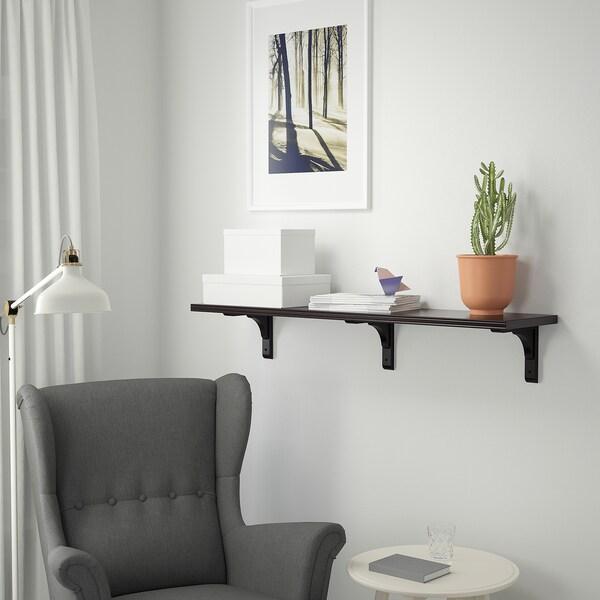 BERGSHULT / RAMSHULT Væghylde, sortbrun, 120x30 cm