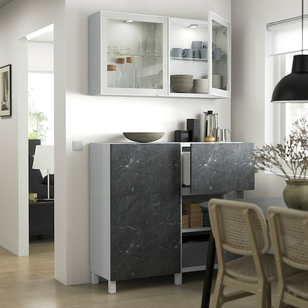 BERGSVIKEN Låge/skuffefront, sort marmormønstret, 60x38 cm