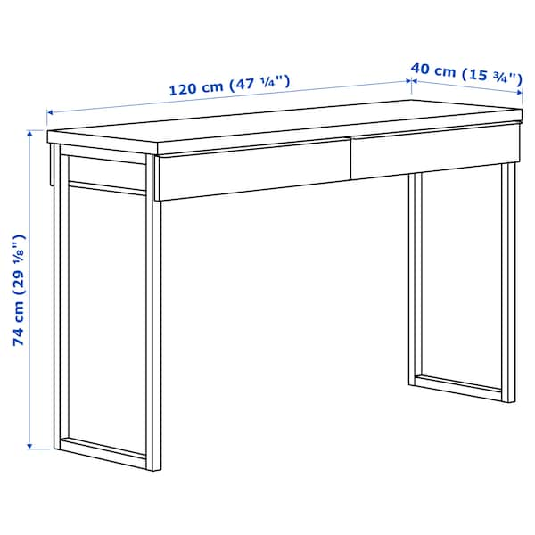 BESTÅ BURS Skrivebord, højglans hvid, 120x40 cm