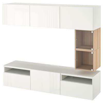 BESTÅ / EKET Tv-bord, hvid/Selsviken højglans/hvid, 180x42x166 cm
