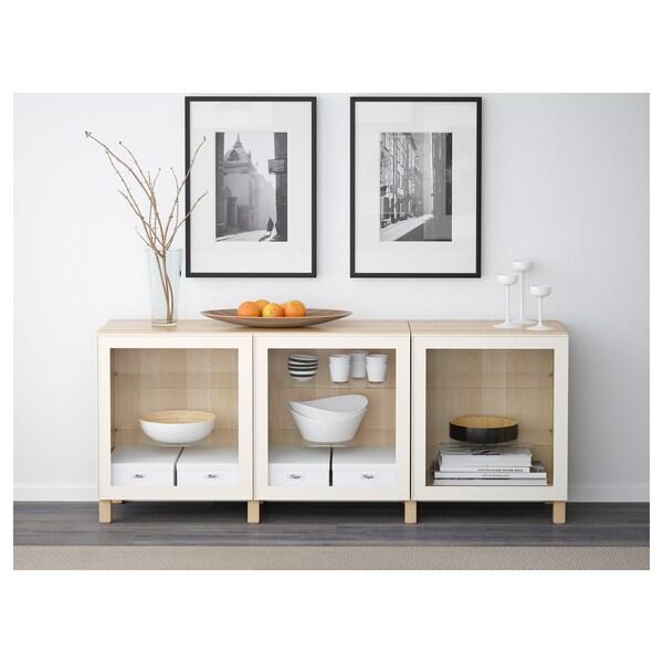 BESTÅ Opbevaring med låger, egetræsmønster med hvid bejdse/Glassvik hvidt klart glas, 180x40x74 cm