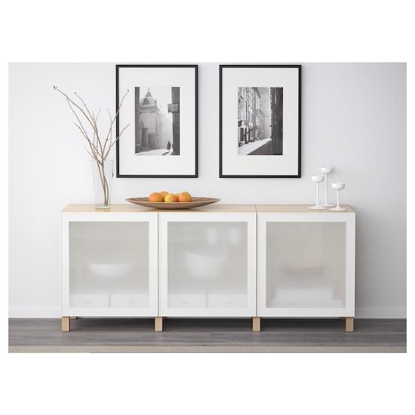 BESTÅ Opbevaring med låger, egetræsmønster med hvid bejdse/Glassvik/Stubbarp hvidt frostet glas, 180x42x74 cm
