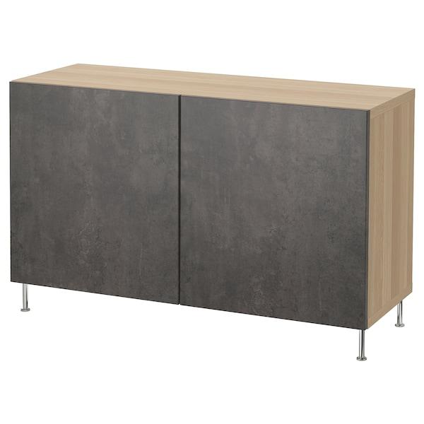BESTÅ Opbevaring med låger, egetræsmønster med hvid bejdse Kallviken/Stallarp/mørkegrå betonmønstret, 120x40x74 cm