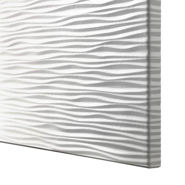 BESTÅ Opbevaring med låger, egetræsmønster med hvid bejdse/Laxviken hvid, 180x42x65 cm