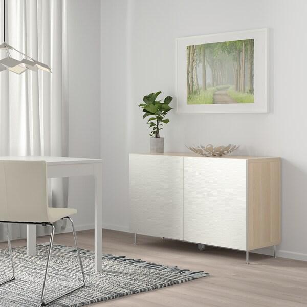 BESTÅ Opbevaring med låger, egetræsmønster med hvid bejdse/Laxviken/Stallarp hvid, 120x40x74 cm