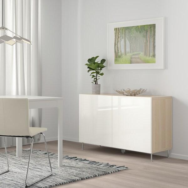 BESTÅ Opbevaring med låger, egetræsmønster med hvid bejdse/Selsviken/Stallarp højglans/hvid, 120x40x74 cm
