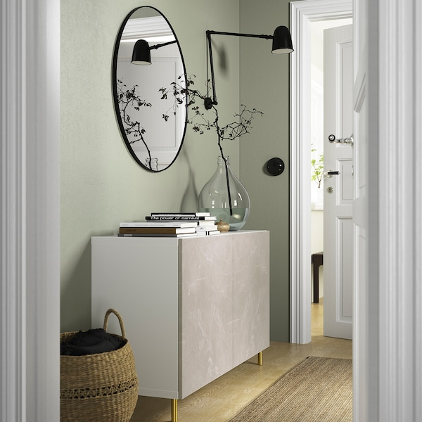 BESTÅ Opbevaring med låger, hvid Bergsviken/Ösarp/beige marmormønstret, 120x42x74 cm
