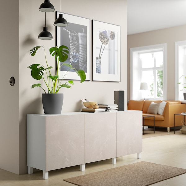 BESTÅ Opbevaring med låger, hvid Bergsviken/Stubbarp/beige marmormønstret, 180x42x74 cm