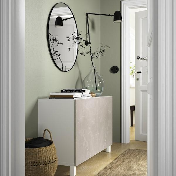 BESTÅ Opbevaring med låger, hvid Bergsviken/Stubbarp/beige marmormønstret, 120x42x74 cm