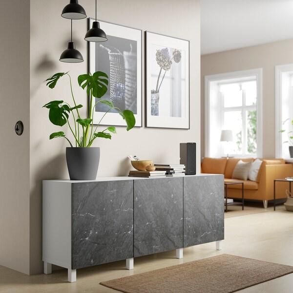 BESTÅ Opbevaring med låger, hvid Bergsviken/Stubbarp/sort marmormønstret, 180x42x74 cm