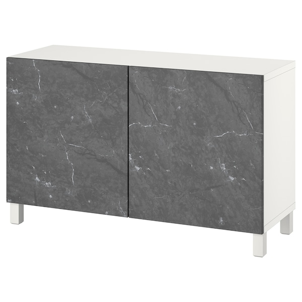 BESTÅ Opbevaring med låger, hvid Bergsviken/Stubbarp/sort marmormønstret, 120x42x74 cm