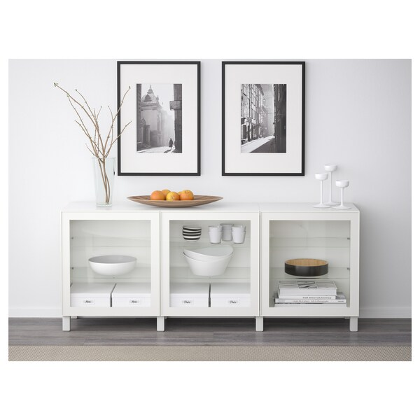 BESTÅ Opbevaring med låger, hvid/Glassvik hvidt klart glas, 180x42x65 cm