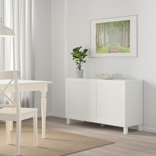 BESTÅ Opbevaring med låger, hvid/Hanviken hvid, 120x42x65 cm