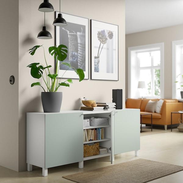 BESTÅ Opbevaring med låger, hvid/Hjortviken/Stubbarp lys grågrøn, 180x42x74 cm