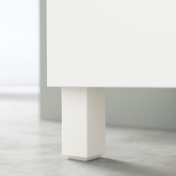 BESTÅ Opbevaring med låger, hvid/Hjortviken/Stubbarp lys grågrøn, 120x42x74 cm