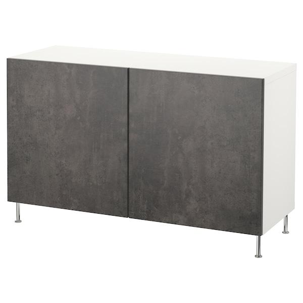BESTÅ Opbevaring med låger, hvid Kallviken/Stallarp/mørkegrå betonmønstret, 120x40x74 cm