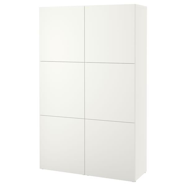 BESTÅ Opbevaring med låger, hvid/Lappviken hvid, 120x42x193 cm