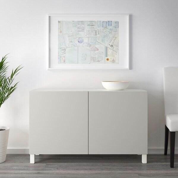 BESTÅ Opbevaring med låger, hvid/Lappviken lysegrå, 120x42x65 cm