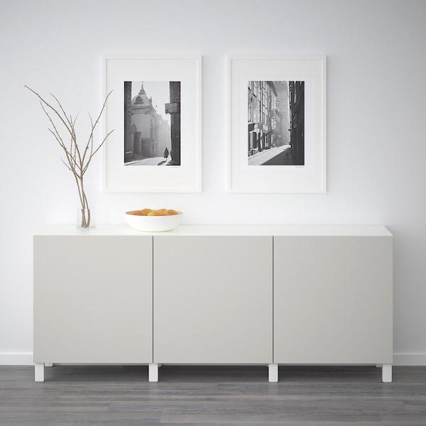 BESTÅ Opbevaring med låger, hvid/Lappviken lysegrå, 180x40x74 cm