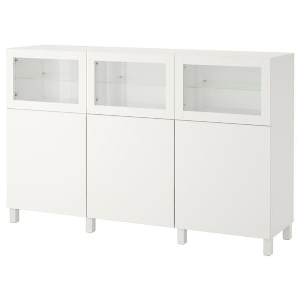 BESTÅ Opbevaring med låger, hvid Lappviken/Sindvik hvidt klart glas, 180x42x112 cm