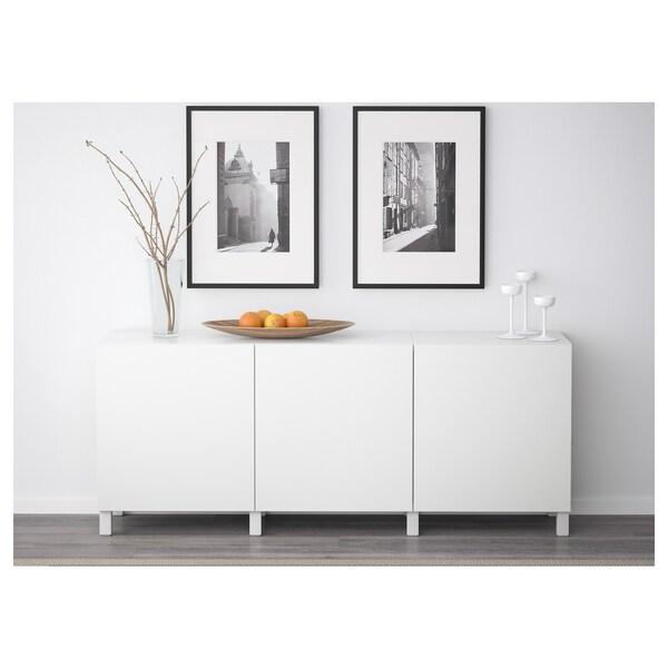 BESTÅ Opbevaring med låger, hvid/Lappviken/Stubbarp hvid, 180x42x74 cm