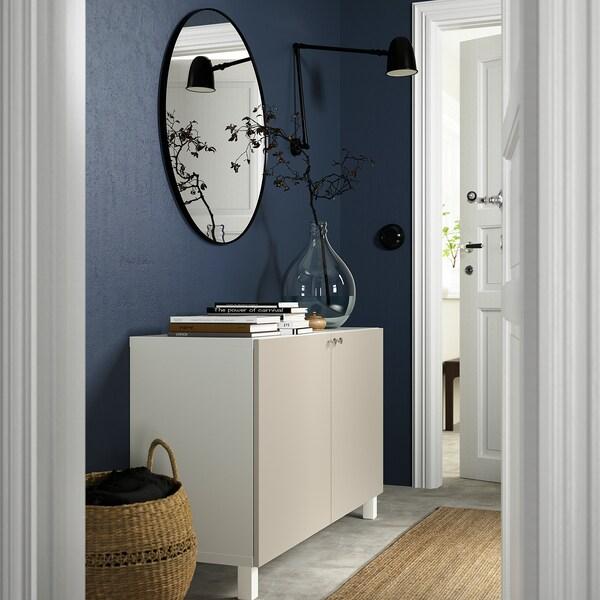 BESTÅ Opbevaring med låger, hvid/Lappviken/Stubbarp lys gråbeige, 120x42x74 cm