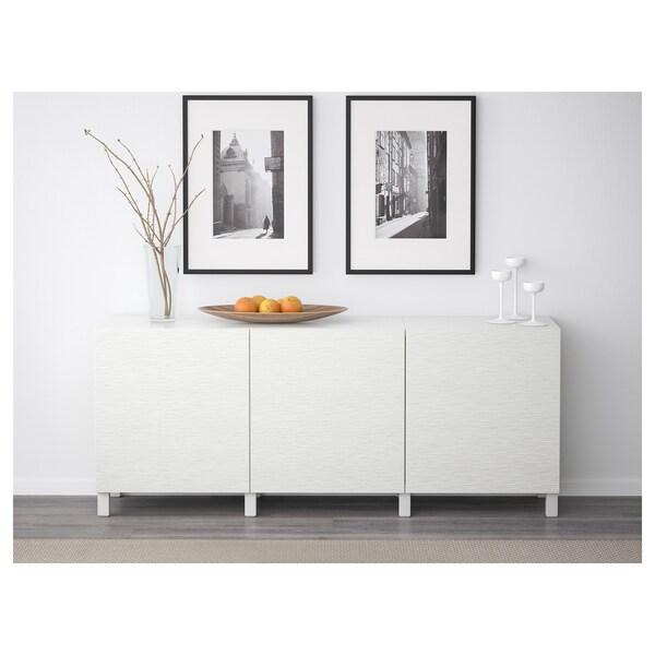 BESTÅ Opbevaring med låger, hvid/Laxviken hvid, 180x42x65 cm