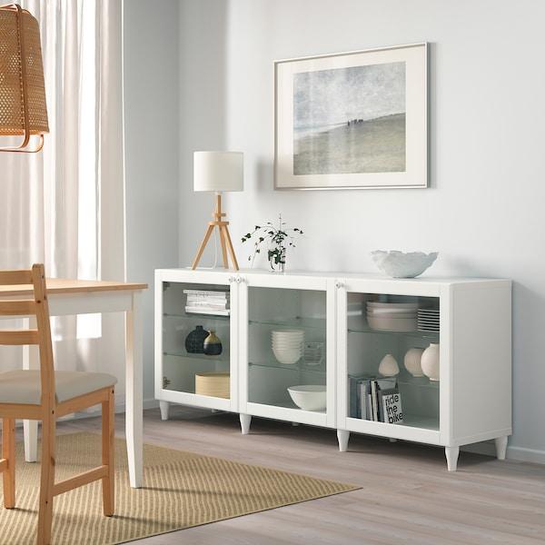 BESTÅ Opbevaring med låger, hvid/Ostvik/Kabbarp hvidt klart glas, 180x42x74 cm