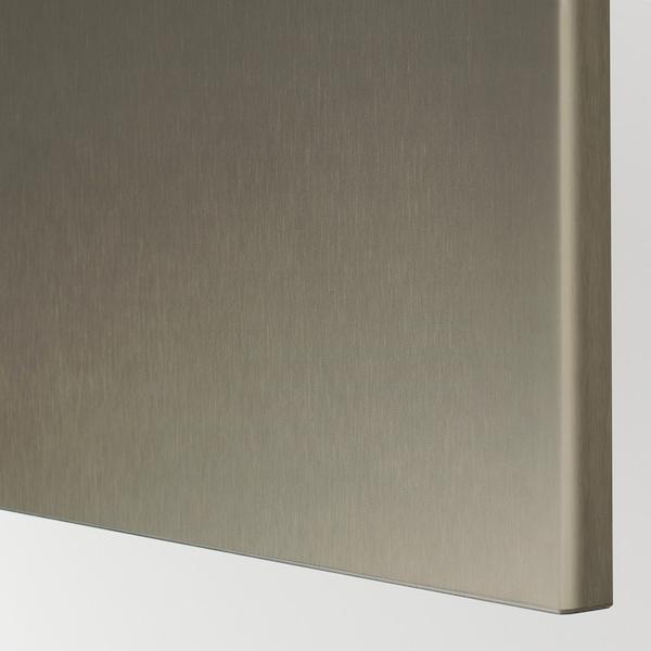 BESTÅ Opbevaring med låger, hvid/Riksviken lyst bronzemønster, 120x42x65 cm
