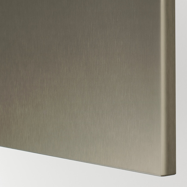 BESTÅ Opbevaring med låger, hvid/Riksviken lyst bronzemønster, 180x42x65 cm